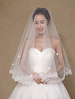 Wedding Veil One-tier Fingertip Veils Lace Applique Edge Tulle Lace