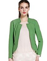 Женский На каждый день Однотонный Куртка U-образный вырез,Простое Осень Зеленый Длинный рукав,Шерсть / Нейлон,Средняя