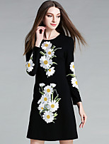 YICHAOFUSHI Women's Casual/Daily Street chic Sheath DressEmbroidered Round Neck Above Knee Long Sleeve Black Polyester - OMQ-Y1582-220