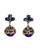 European Luxury Gem Geometric Earrrings Vintage Hollow Ball Drop Earrings for Women Fashion Jewelry Best Gift
