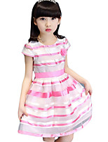 Girl's Casual/Daily Striped Dress,Cotton / Polyester Summer Purple / Red / Yellow