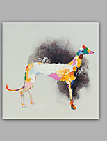 Hand-Painted Abstract / Animal Dog 100% Hang-Painted Oil PaintingModern / Classic One Panel Canvas Oil Painting For Home Decoration