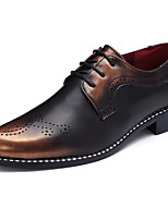 Men's Oxfords Spring Summer Fall Winter Comfort Gladiator PU Casual Low Heel Lace-up Others Black Red Gold Walking