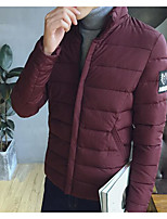 Men's Regular Padded Coat,Simple Casual/Daily Solid-Polyester Cotton Long Sleeve Stand Blue / Red / Black / Gray