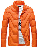 Men's Padded Coat,Simple Casual/Daily Solid-Polyester White Duck Down Long Sleeve Blue / Black / Orange
