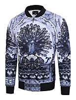Men's Going out / Casual/Daily / Sports Vintage / Simple / Chinoiserie Jackets,Print Stand Long Sleeve Fall / Winter Gray Polyester Medium