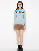 Women's Casual/Daily  Simple Regular PulloverAnimal Print Blue Round Neck Long Sleeve Cashmere Fall / Winter