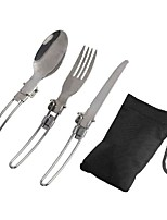 Stainless Steel Portable Tableware Folding Spoon Fork Outdoor Camping Picnic Camping Cooking Dinnerware Sets 1 Set