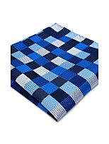 Mens Pocket Square Blue Checked Handkerchief For Men Wedding Jacquard Woven