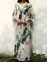 Cynthia Women's Casual/Daily Chinoiserie Tunic DressFloral Round Neck Maxi  Sleeve White Cotton / Linen Spring