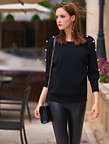 Women's Going out Simple Spring / Fall Pant Suits,Solid Round Neck Long Sleeve Black Polyester / Nylon / Others Medium