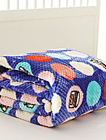 Coral fleece Blue / Multi-color,Yarn-dyed Polka Dots 70% Acrylic/30% Cotton Blankets S:150*200cm