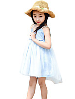 Girl's Casual/Daily Patchwork Dress,Cotton / Others Summer Blue