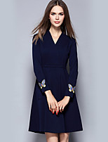 YICHAOFUSHI Women's Going out Street chic Sheath DressEmbroidered V Neck Above Knee Long Sleeve Blue Polyester Fall - OMQ-Y2188-240