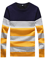 Men's fashion Slim Stripe Spell Color Plus Cashmere Knitted PulloversPolyester Long Sleeve Blue / Red / Gray