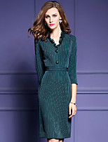 Women's Casual/Daily Sophisticated Sheath DressStriped V Neck Knee-length  Mid Rise Stretchy Medium