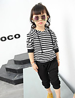 Girl's Casual/Daily Striped Clothing SetCotton Spring / Fall Black