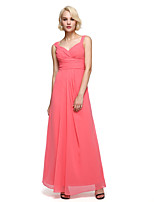 Lanting Bride®Ankle-length Chiffon Bridesmaid Dress - Elegant A-line Straps with Sash / Ribbon / Side Draping / Ruching