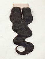 4x4 Fermeture Ondulation naturelle Cheveux humains Fermeture Brun roux Dentelle Suisse 50 gramme Moyenne Taille du Bonnet