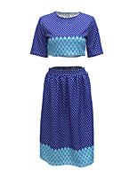 Women's Going out / Casual/Daily Vintage / Street chic Summer / Fall T-shirt Skirt Suits,Polka Dot Round Neck ½ Length Sleeve Blue