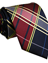 Men's Necktie Tie Wine Checked 100% Silk Jacquard Woven Business Dress Casual Wedding For Men