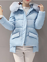 Women's Short Padded CoatSimple Going out Solid-Polyester Polypropylene Long Sleeve Hooded Blue / Pink / Black / Gray