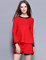 Women's Going out / Casual/Daily Vintage / Simple Fall / Winter T-shirt Pant Suits,Solid Round Neck Long Sleeve Red Cotton Medium