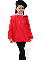 Girl Casual/Daily Solid Down & Cotton Padded,Blended Cotton Winter Long Sleeve