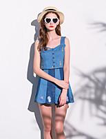 Set Jupe Costumes Femme,Broderie Sortie Mignon Eté Sans Manches Coeur Bleu Coton Moyen