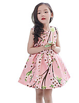 Girl's Casual/Daily Print Dress,Cotton / Polyester Summer Pink / Red