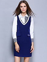 YICHAOFUSHI Women's Going out Street chic Sheath DressStriped V Neck Above Knee Long Sleeve Blue Polyester suit-OMT-Y1492-270