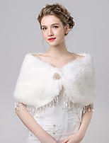 Women's Wrap Capelets Faux Fur / Imitation Cashmere Wedding / Party/Evening Button / Lace / Rhinestone
