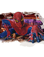 3D Spider-Man Broken Wall Design Superhero 3D Wall Stickers Removable Children's Bedroom Living Room Wall Decals