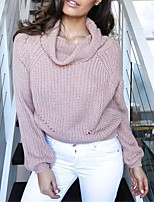 Women's Casual/Daily Street chic Short Pullover,Solid Blue Pink White Gray Turtleneck Long Sleeve Polyester Fall Winter Medium