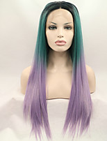 Sylvia Synthetic Lace front Wig Black Roots Green Purple Three Tones Hair Ombre Hair Heat Resistant Long Straight Synthetic Wigs
