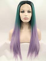 sylvia dentelle synthétique avant perruque racines noires longues perruques synthétiques vert violet trois tons cheveux de la chaleur des