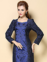 AINIER Women's Casual/Daily Simple Sheath DressJacquard Asymmetrical Mini Long Sleeve Blue Cotton / Polyester Fall Mid Rise Inelastic Thin