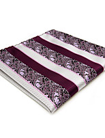 Mens Pocket Square Purple Stripes For Men 100% Silk Handkerchief Wedding Dress Jacquard Woven