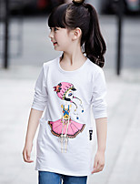 Girl's Casual/Daily Print TeeCotton Spring / Fall White / Gray