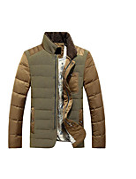 Men's Regular Down Coat,Simple Casual/Daily Color Block-Polyester White Duck Down Long Sleeve Beige / Green