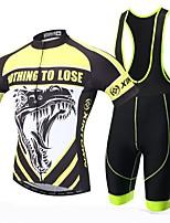 XINTOWN® Maillot et Cuissard Long à Bretelles de Cyclisme Homme Manches courtes VéloRespirable / Séchage rapide / Résistant aux