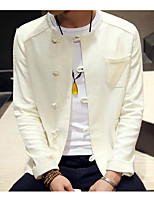 Men's Casual/Daily Simple Jackets,Solid Long Sleeve Fall White Linen Thin