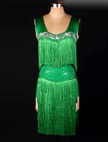 Latin Dance Dresses&Skirts Women's Performance / Training Spandex Ruched / Sequins / Tassel(s) 1 Piece Green