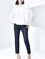 Damen Solide Einfach Lässig/Alltäglich Hemd,Hemdkragen Herbst Langarm Weiß Polyester Mittel