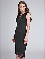 2017 Lanting Bride® Knee-length Lace Little Black Dress Bridesmaid Dress - Jewel with Lace