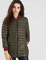 Women's Regular Down Coat,Street chic Casual/Daily Solid-Nylon White Duck Down Long Sleeve Stand Blue / Pink / Red / Black / Green