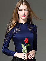 Women's Going out / Casual/Daily / Work Sexy / Chinoiserie / Sophisticated Fall / Winter T-shirt,Solid / Patchwork / Embroidered Stand