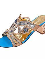 Damen-Slippers & Flip-Flops-Kleid-PU-Blockabsatz Kristallabsatz-Komfort-Schwarz Blau Grün