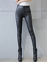 Women's Solid Black Skinny Pants Casual Sexy / Street High Waist Slim Thin Fashion PU Spring / Fall