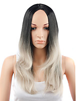 Fashion Style Long Straight Hair Black and Grey Color Synthetic Wigs for Women